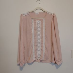 3/$25 Faith and Joy cream emboidered lace blouse